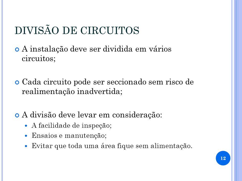 DIVISÃO DE CIRCUITOS A instalação deve ser dividida em vários circuitos; Cada circuito pode ser seccionado sem risco de realimentação inadvertida;