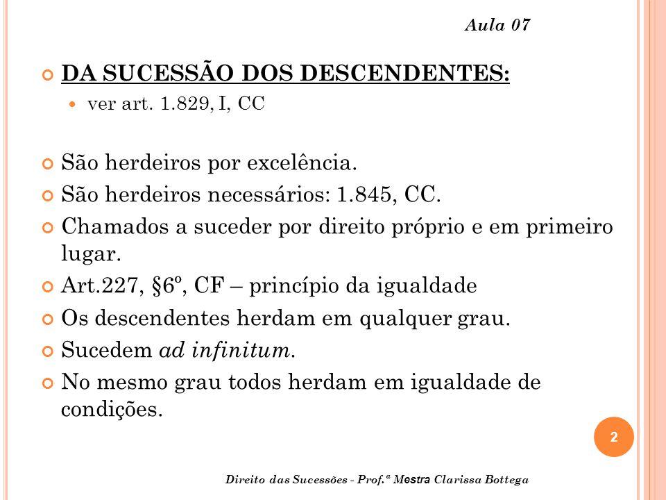 DA SUCESSÃO DOS DESCENDENTES: