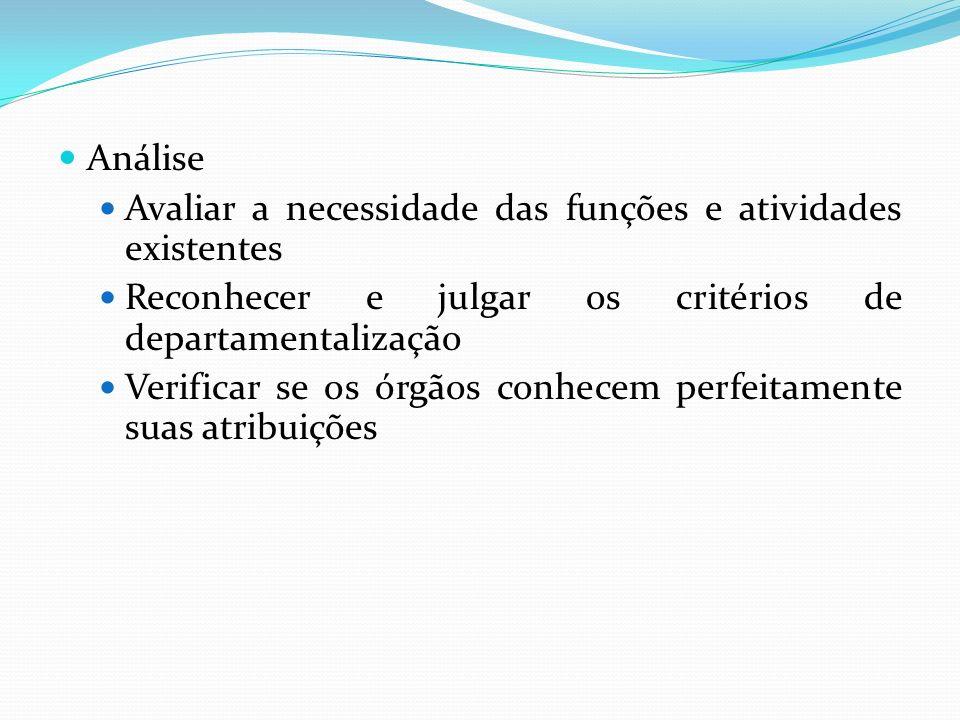 Análise Avaliar a necessidade das funções e atividades existentes. Reconhecer e julgar os critérios de departamentalização.