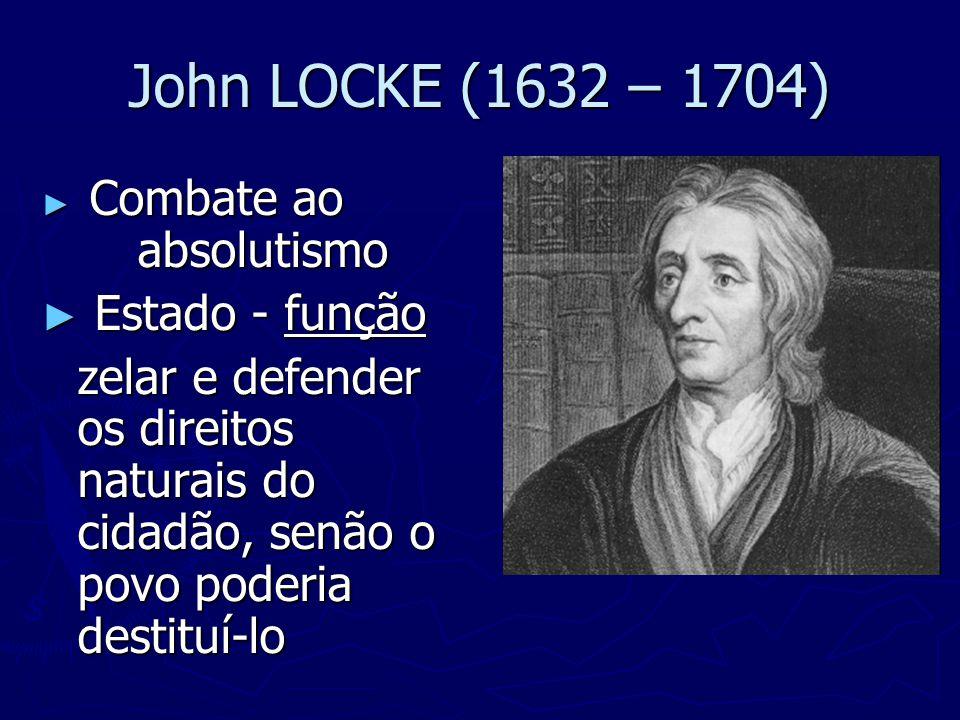 John LOCKE (1632 – 1704) Estado - função