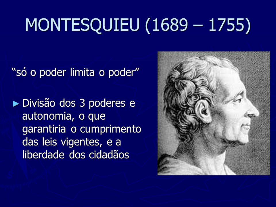 MONTESQUIEU (1689 – 1755) só o poder limita o poder