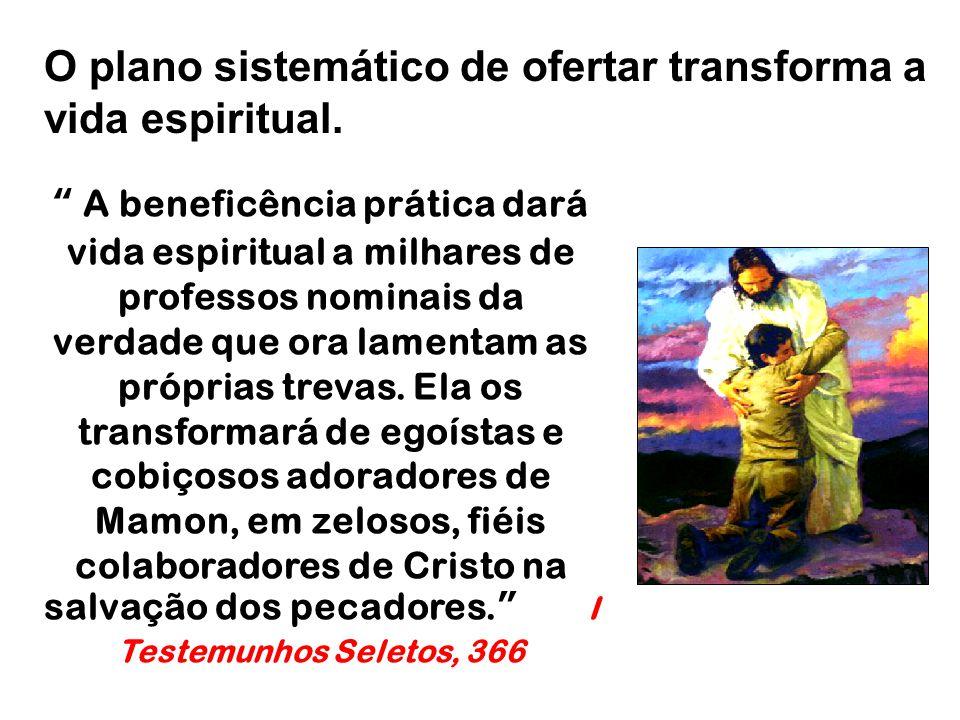 O plano sistemático de ofertar transforma a vida espiritual.