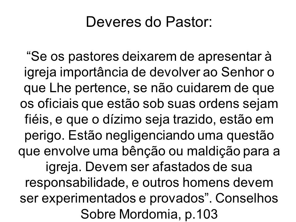 Deveres do Pastor: