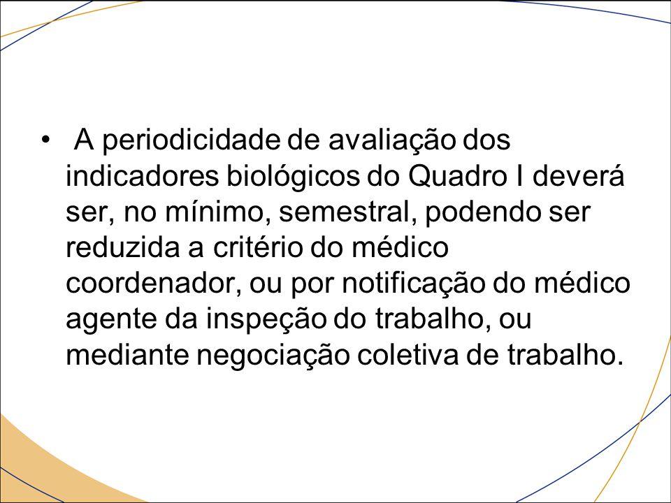 A periodicidade de avaliação dos indicadores biológicos do Quadro I deverá ser, no mínimo, semestral, podendo ser reduzida a critério do médico coordenador, ou por notificação do médico agente da inspeção do trabalho, ou mediante negociação coletiva de trabalho.
