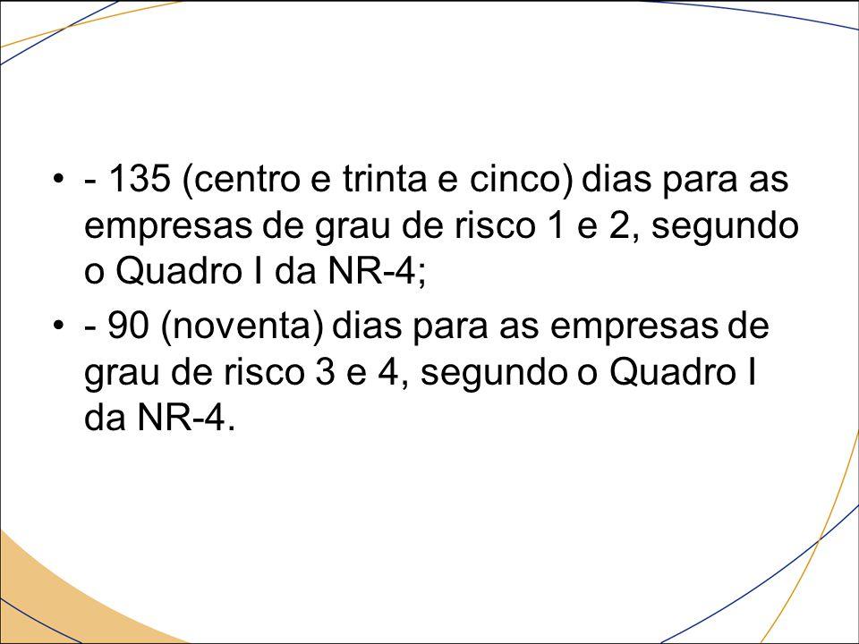 - 135 (centro e trinta e cinco) dias para as empresas de grau de risco 1 e 2, segundo o Quadro I da NR-4;