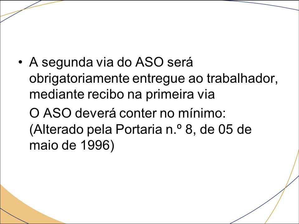 A segunda via do ASO será obrigatoriamente entregue ao trabalhador, mediante recibo na primeira via