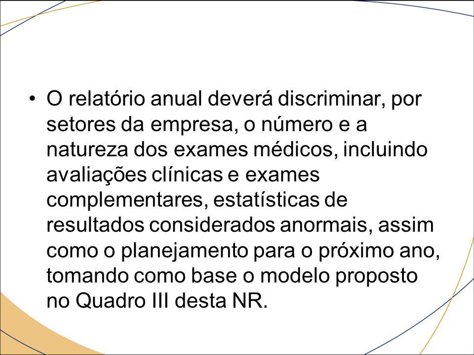 O relatório anual deverá discriminar, por setores da empresa, o número e a natureza dos exames médicos, incluindo avaliações clínicas e exames complementares, estatísticas de resultados considerados anormais, assim como o planejamento para o próximo ano, tomando como base o modelo proposto no Quadro III desta NR.
