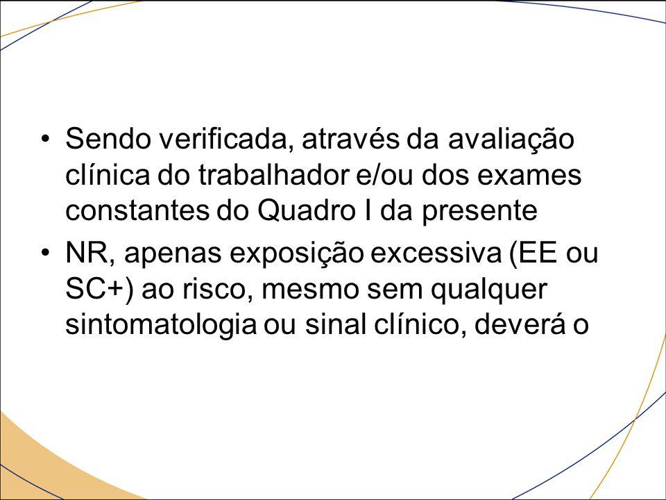 Sendo verificada, através da avaliação clínica do trabalhador e/ou dos exames constantes do Quadro I da presente