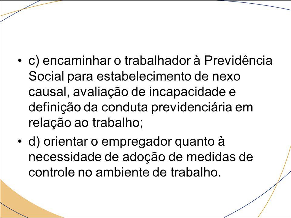 c) encaminhar o trabalhador à Previdência Social para estabelecimento de nexo causal, avaliação de incapacidade e definição da conduta previdenciária em relação ao trabalho;