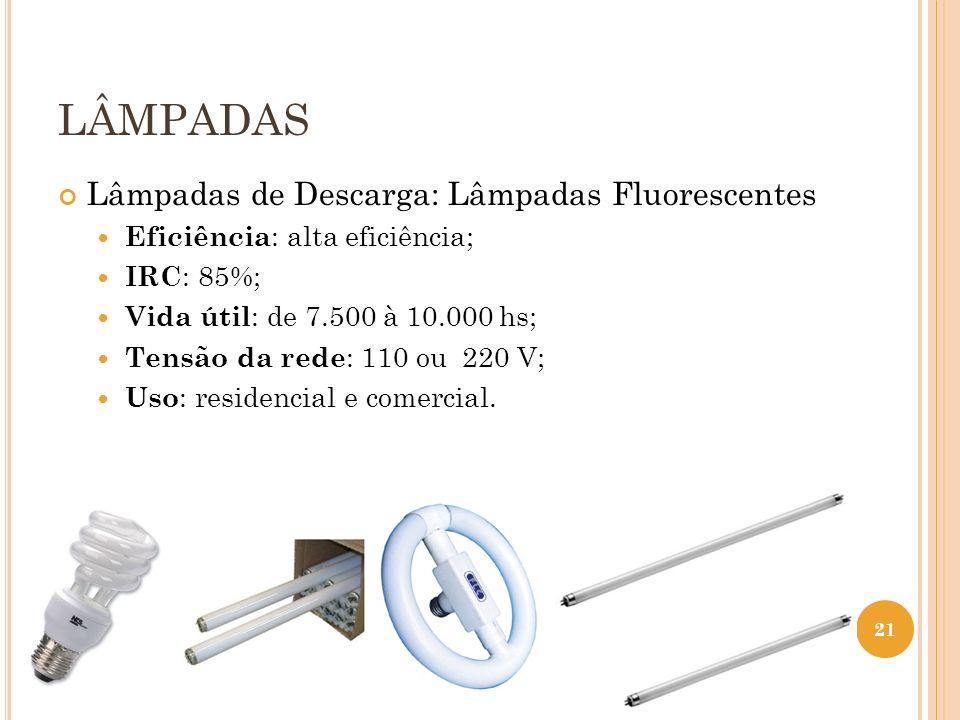 LÂMPADAS Lâmpadas de Descarga: Lâmpadas Fluorescentes