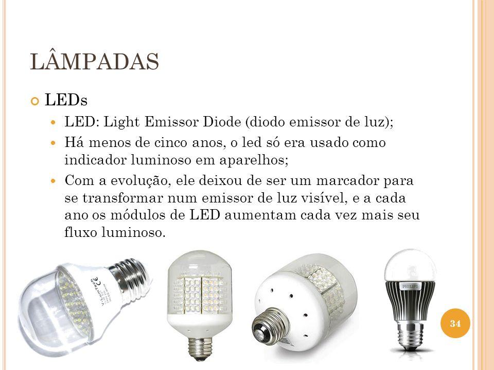 LÂMPADAS LEDs LED: Light Emissor Diode (diodo emissor de luz);