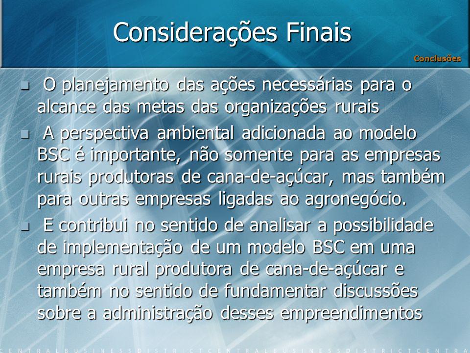 Considerações Finais Conclusões. O planejamento das ações necessárias para o alcance das metas das organizações rurais.