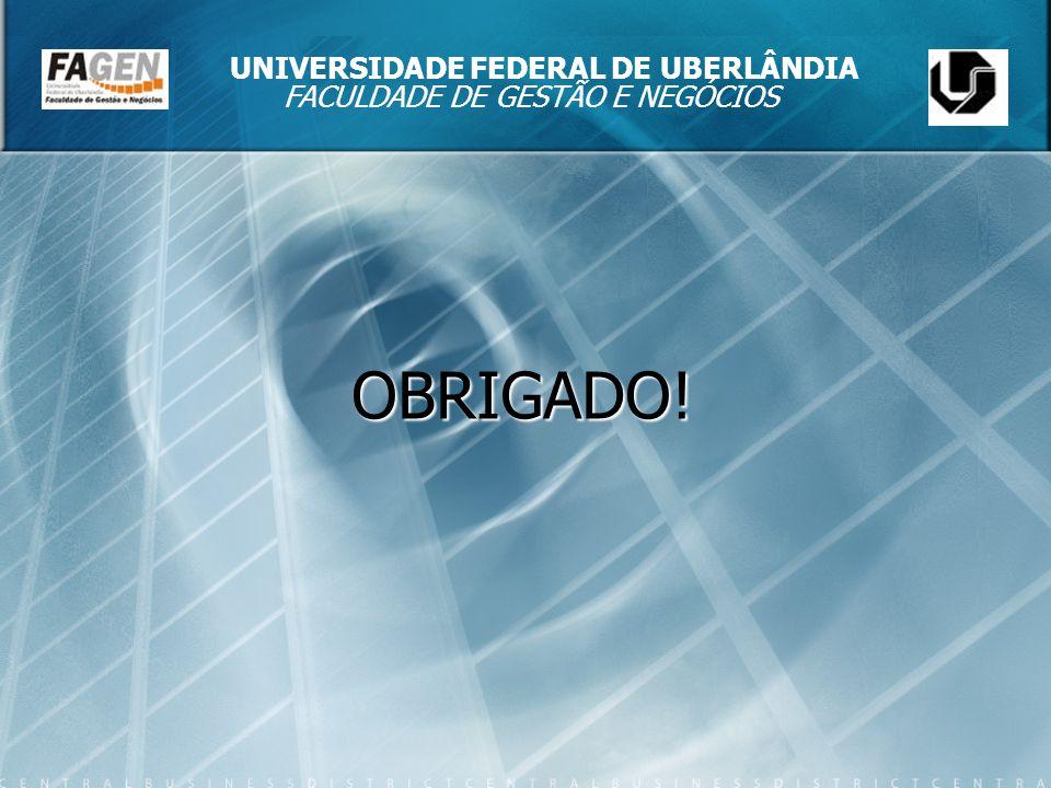 OBRIGADO! UNIVERSIDADE FEDERAL DE UBERLÂNDIA