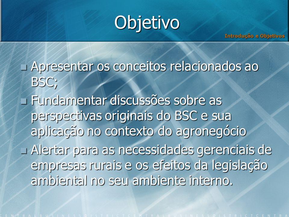 Objetivo Apresentar os conceitos relacionados ao BSC;
