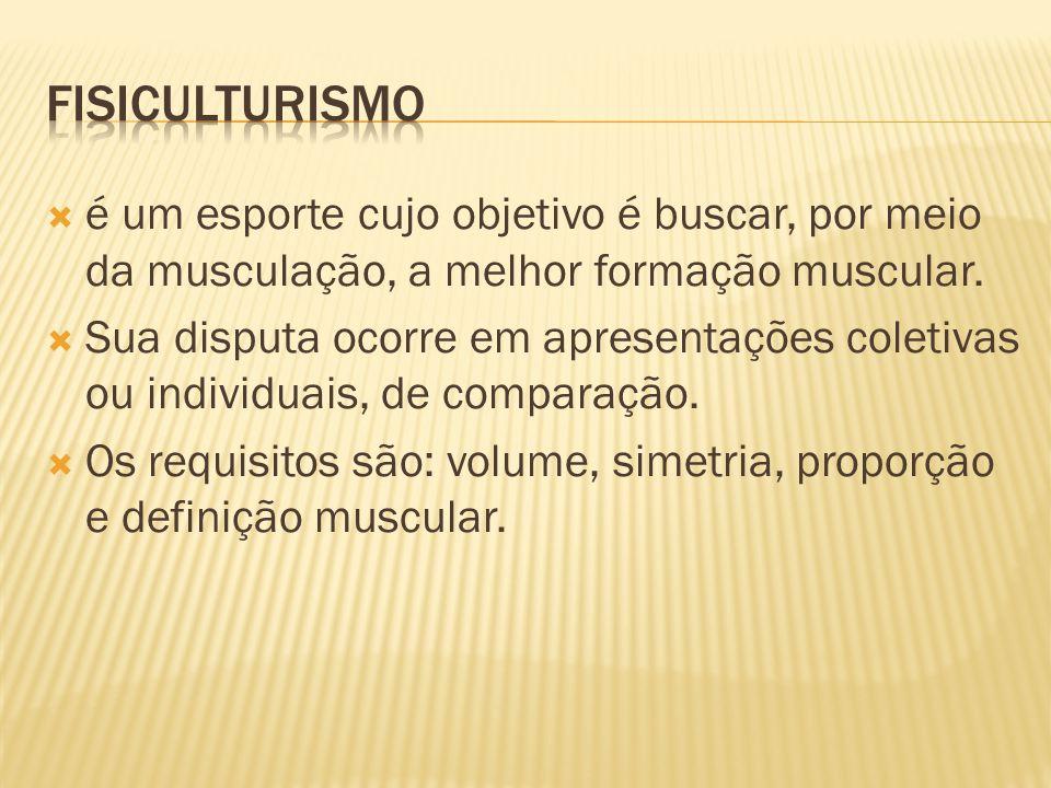 FISICULTURISMO é um esporte cujo objetivo é buscar, por meio da musculação, a melhor formação muscular.