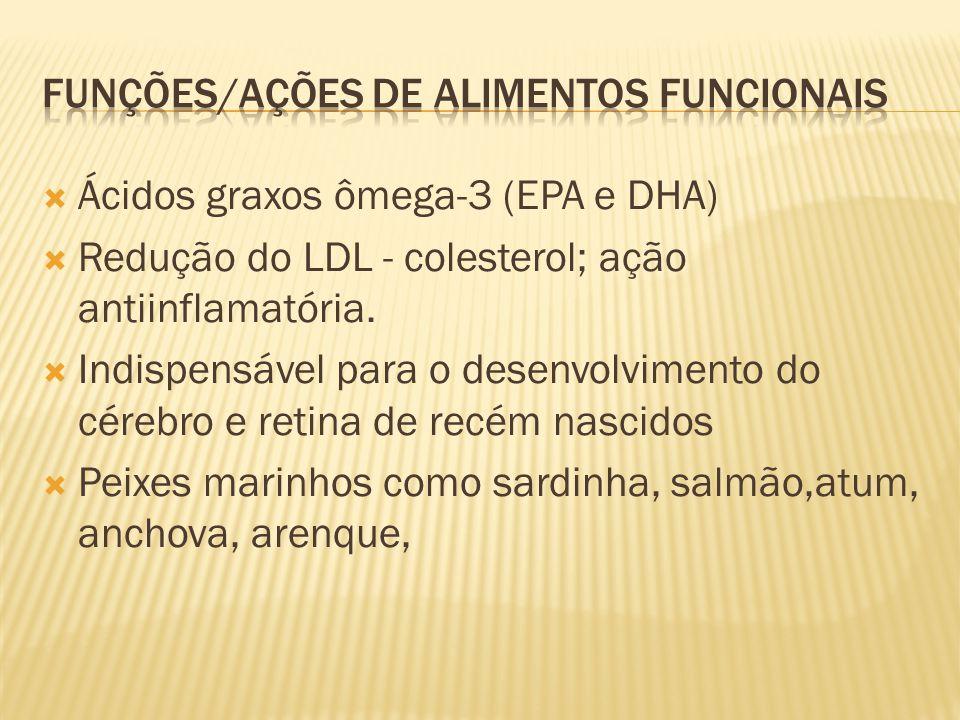 Funções/ações de alimentos funcionais