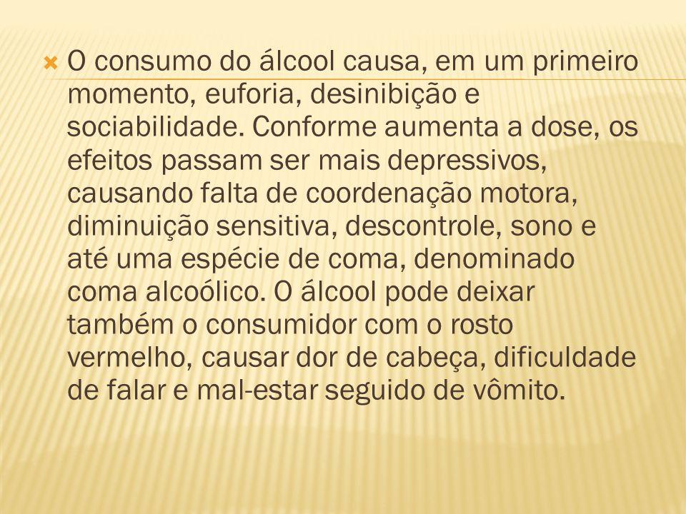O consumo do álcool causa, em um primeiro momento, euforia, desinibição e sociabilidade.