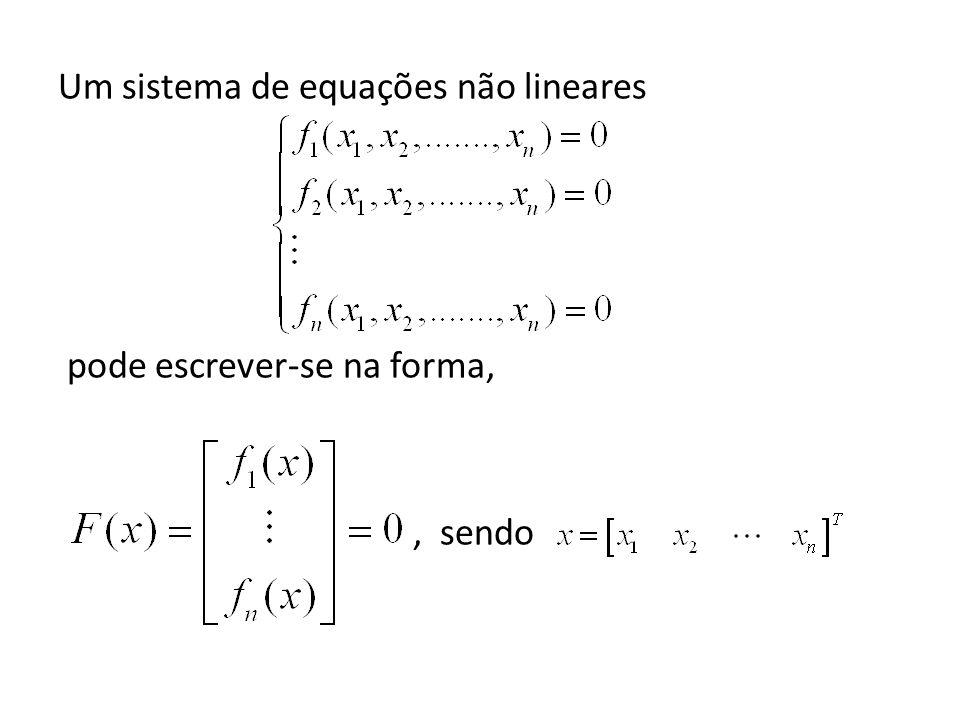 Um sistema de equações não lineares pode escrever-se na forma, , sendo
