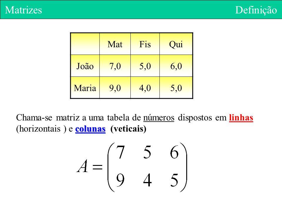 Matrizes Definição Mat Fis Qui João 7,0 5,0 6,0 Maria 9,0 4,0