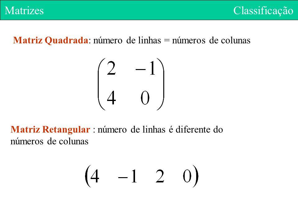 Matriz Quadrada: número de linhas = números de colunas