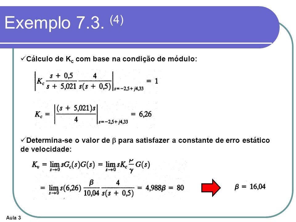 Exemplo 7.3. (4) Cálculo de Kc com base na condição de módulo: