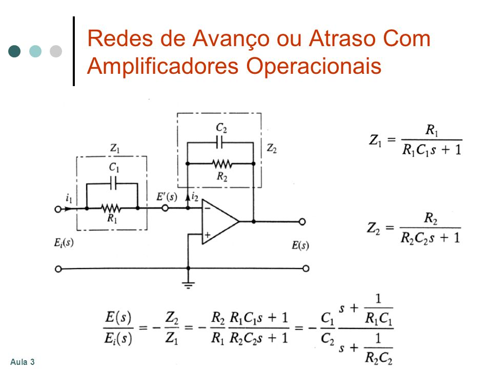 Redes de Avanço ou Atraso Com Amplificadores Operacionais