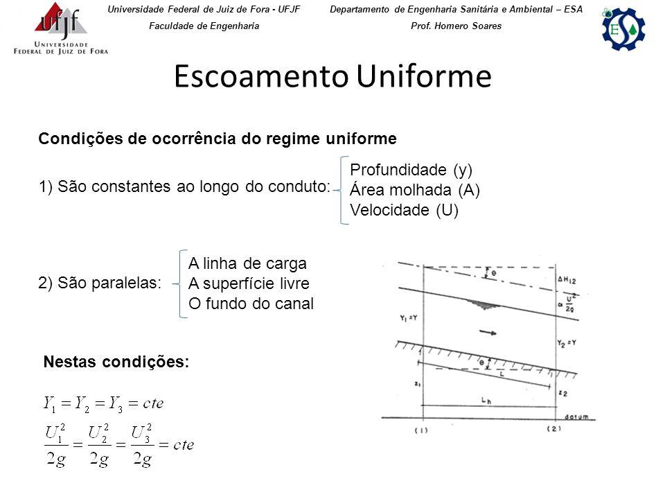 Escoamento Uniforme Condições de ocorrência do regime uniforme