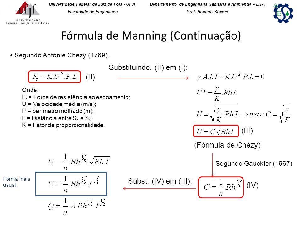 Fórmula de Manning (Continuação)