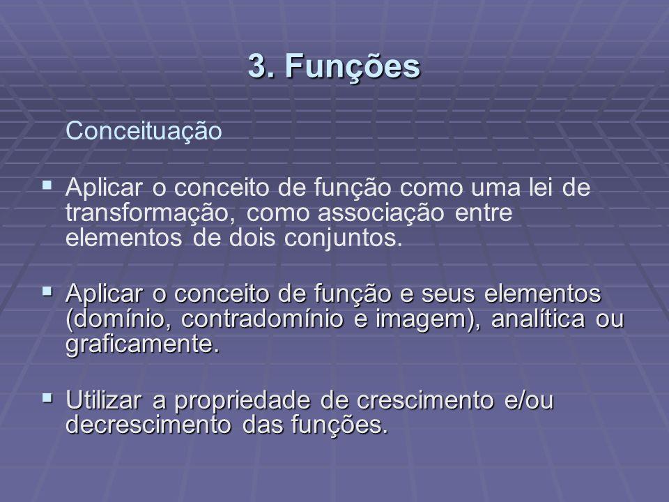 3. Funções Conceituação. Aplicar o conceito de função como uma lei de transformação, como associação entre elementos de dois conjuntos.