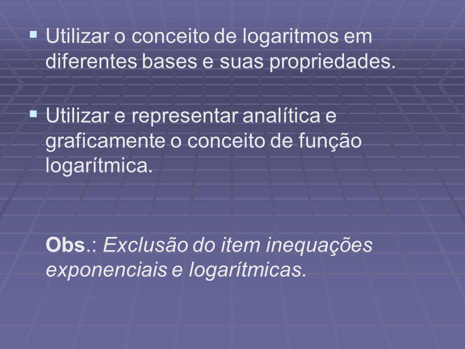 Utilizar o conceito de logaritmos em diferentes bases e suas propriedades.
