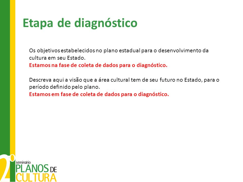 Etapa de diagnóstico Os objetivos estabelecidos no plano estadual para o desenvolvimento da cultura em seu Estado.