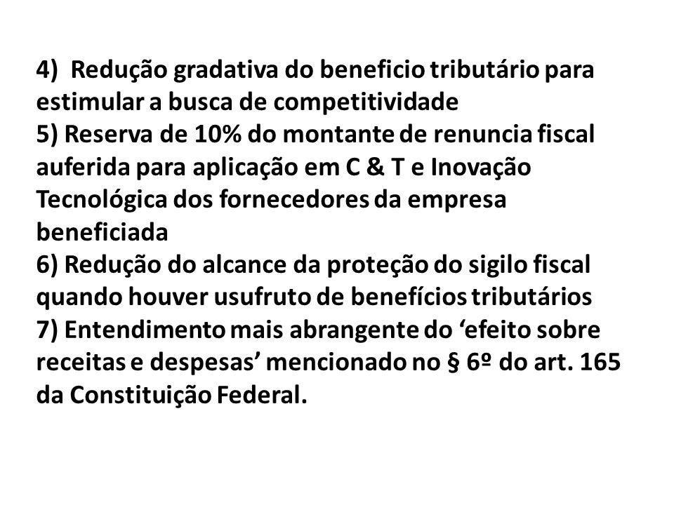 4) Redução gradativa do beneficio tributário para estimular a busca de competitividade