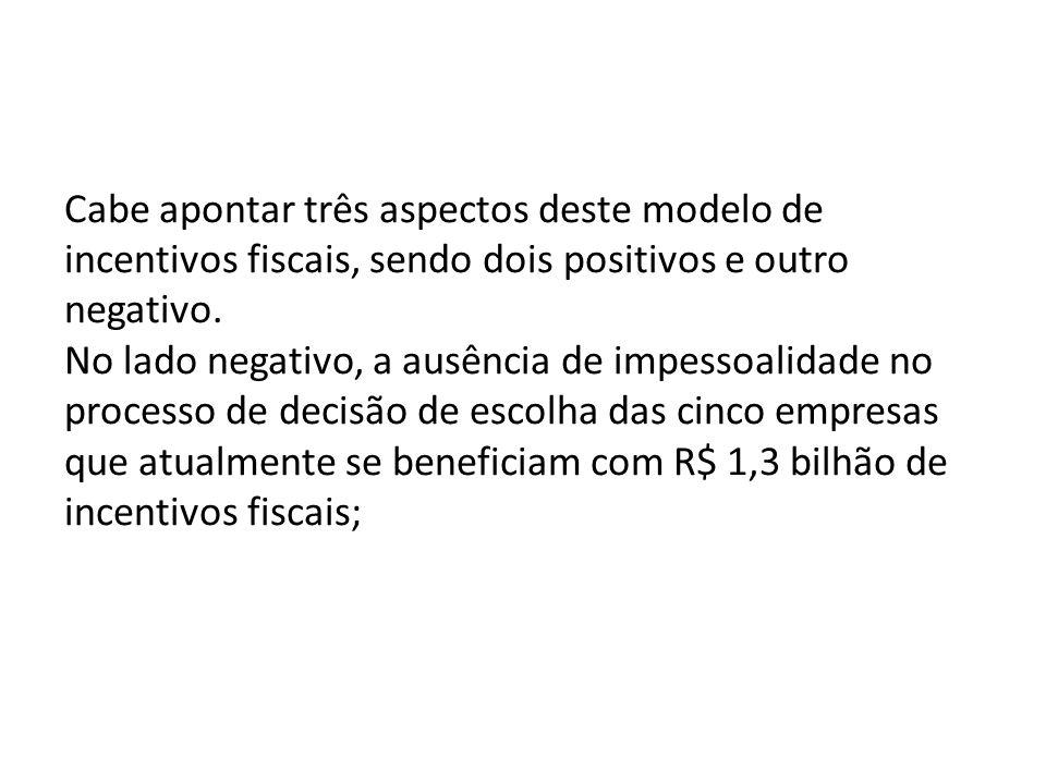 Cabe apontar três aspectos deste modelo de incentivos fiscais, sendo dois positivos e outro negativo.
