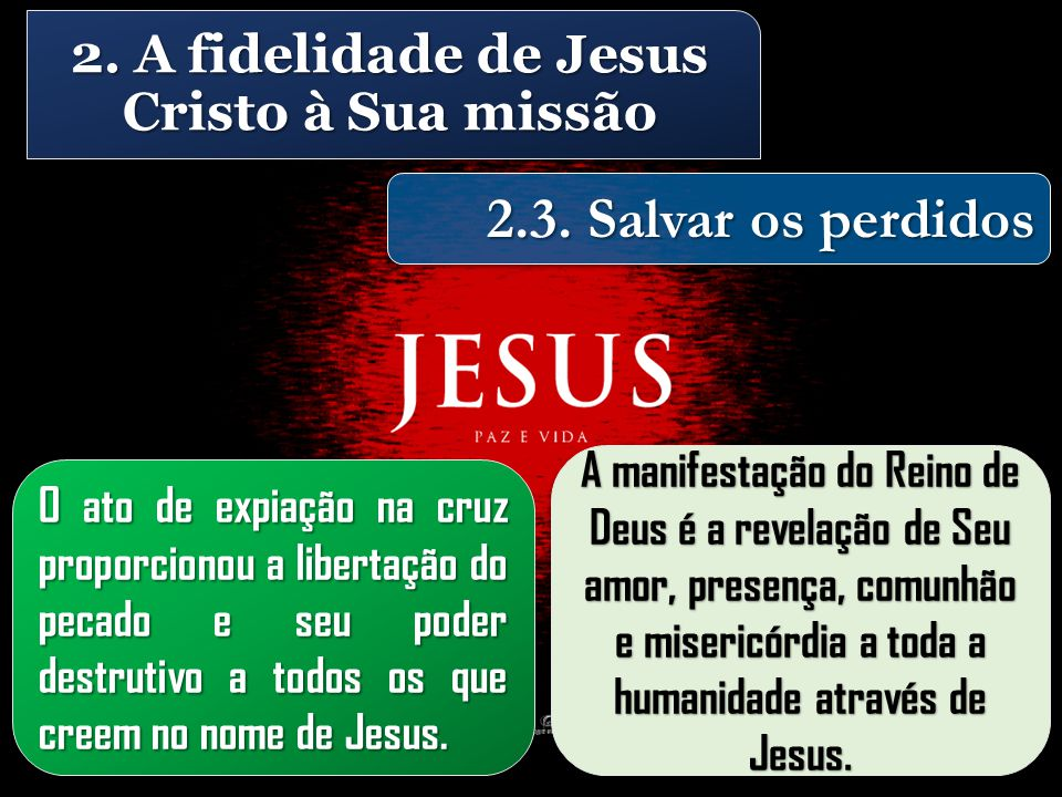 2. A fidelidade de Jesus Cristo à Sua missão