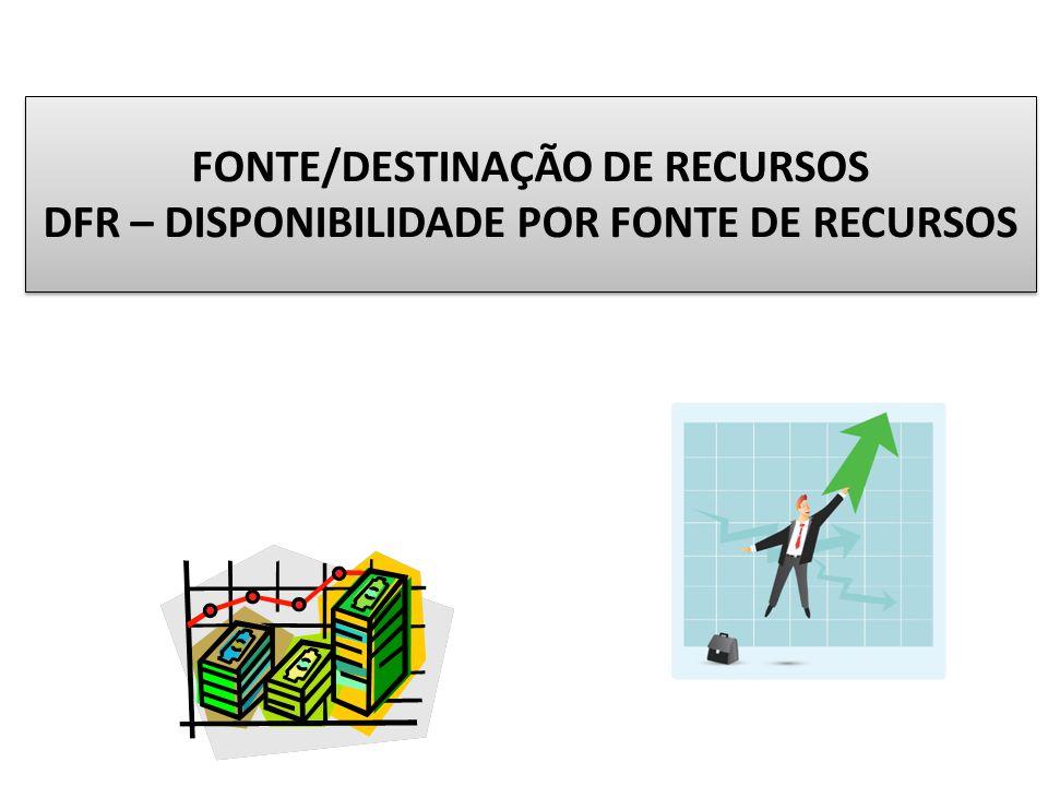 FONTE/DESTINAÇÃO DE RECURSOS DFR – DISPONIBILIDADE POR FONTE DE RECURSOS