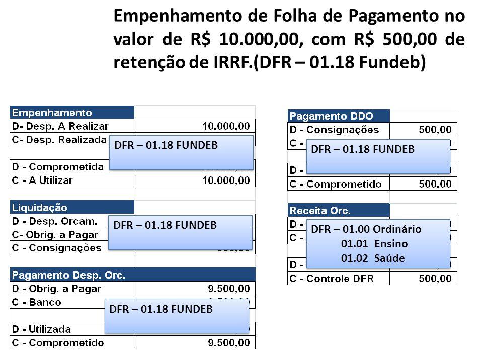 Empenhamento de Folha de Pagamento no valor de R$ 10