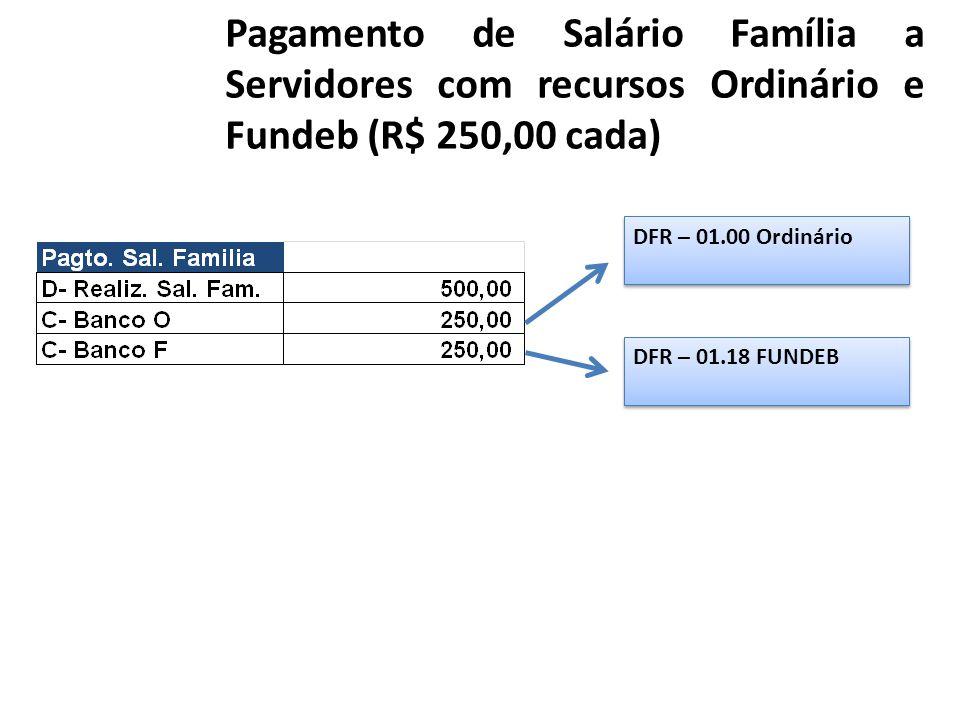 Pagamento de Salário Família a Servidores com recursos Ordinário e Fundeb (R$ 250,00 cada)