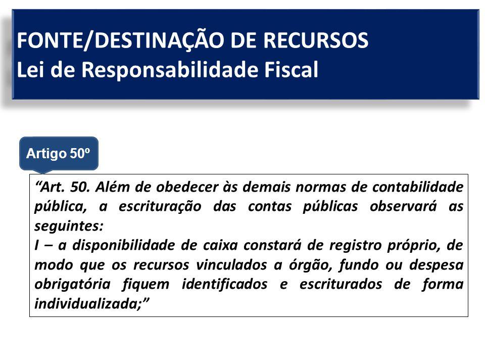 FONTE/DESTINAÇÃO DE RECURSOS Lei de Responsabilidade Fiscal