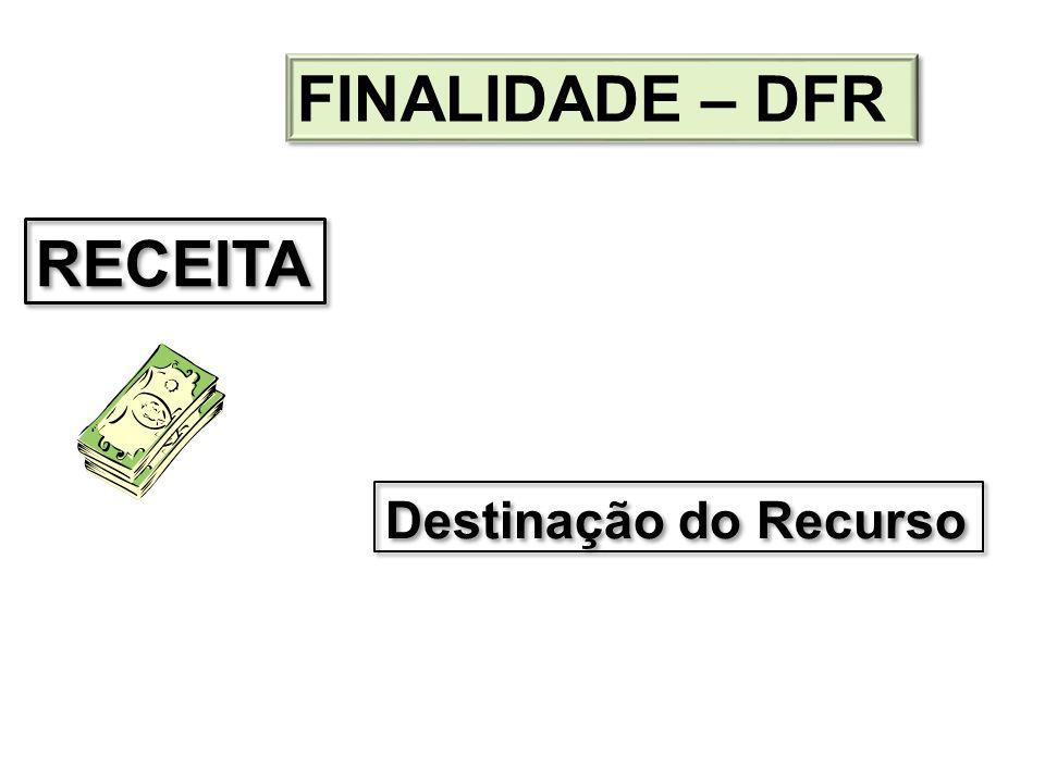 FINALIDADE – DFR RECEITA Destinação do Recurso