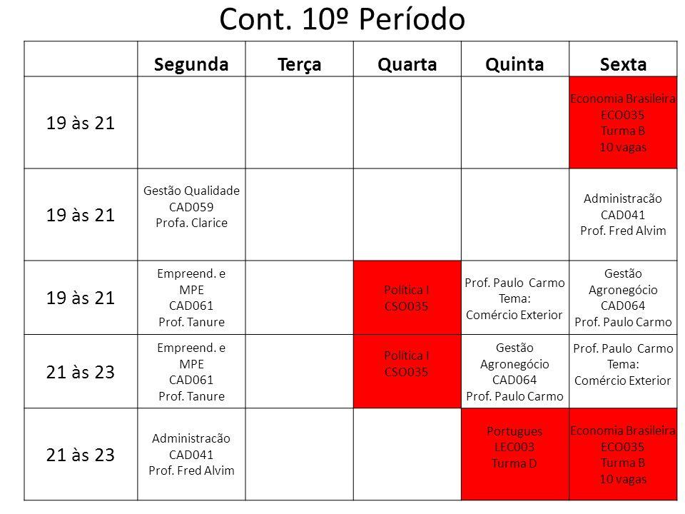 Cont. 10º Período Segunda Terça Quarta Quinta Sexta 19 às 21 21 às 23