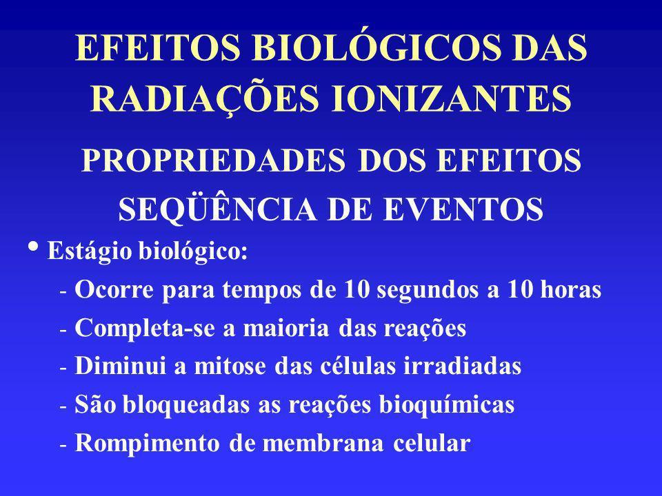 EFEITOS BIOLÓGICOS DAS RADIAÇÕES IONIZANTES PROPRIEDADES DOS EFEITOS