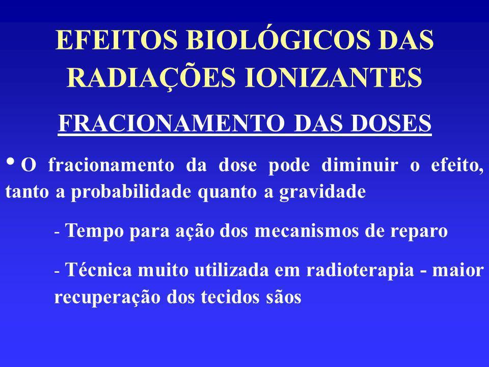 EFEITOS BIOLÓGICOS DAS RADIAÇÕES IONIZANTES FRACIONAMENTO DAS DOSES