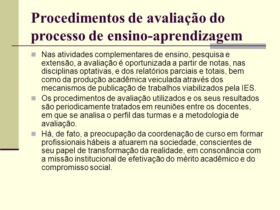 Procedimentos de avaliação do processo de ensino-aprendizagem