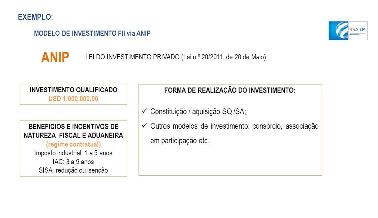 ANIP EXEMPLO: Constituição / aquisição SQ /SA;