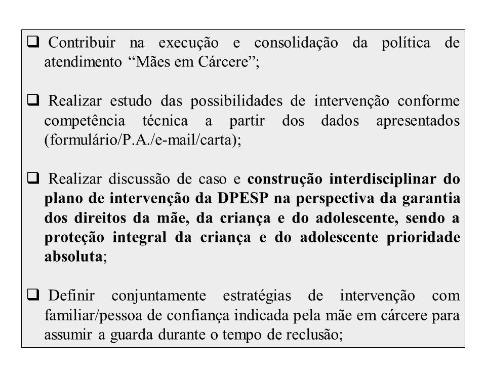 Contribuir na execução e consolidação da política de atendimento Mães em Cárcere ;