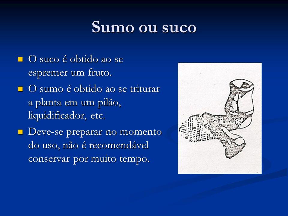 Sumo ou suco O suco é obtido ao se espremer um fruto.