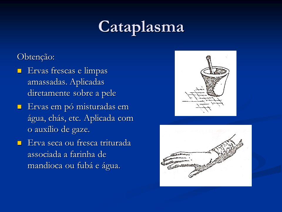 Cataplasma Obtenção: Ervas frescas e limpas amassadas. Aplicadas diretamente sobre a pele.