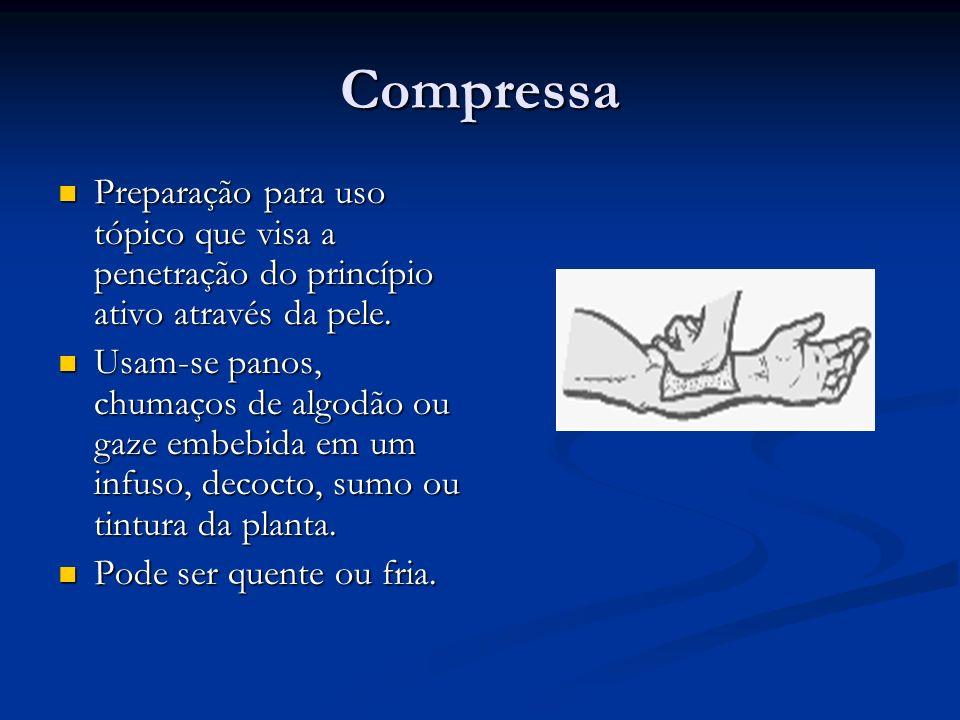 CompressaPreparação para uso tópico que visa a penetração do princípio ativo através da pele.