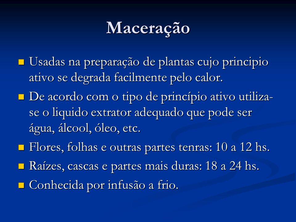Maceração Usadas na preparação de plantas cujo principio ativo se degrada facilmente pelo calor.