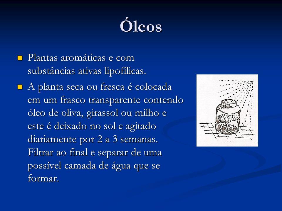 Óleos Plantas aromáticas e com substâncias ativas lipofílicas.